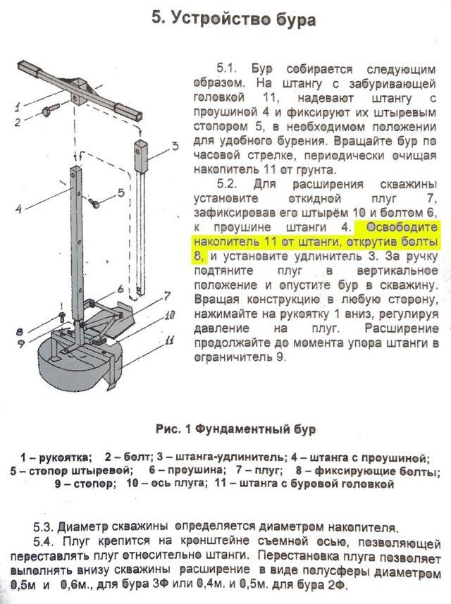 Ручной бур для свайного фундамента: устройство и применение