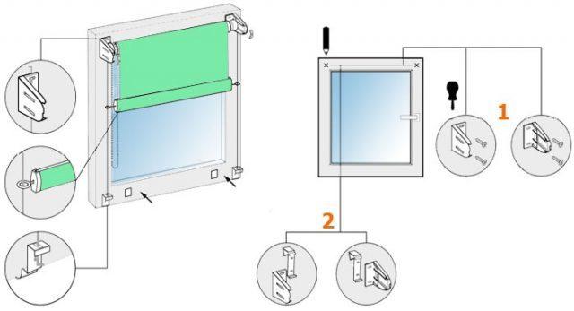 Установка рулонных штор на пластиковые окна: способы и примеры